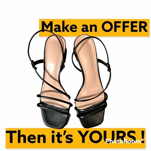 Black thin strap sandals strappy sandals bare sandals floss sandals block heel